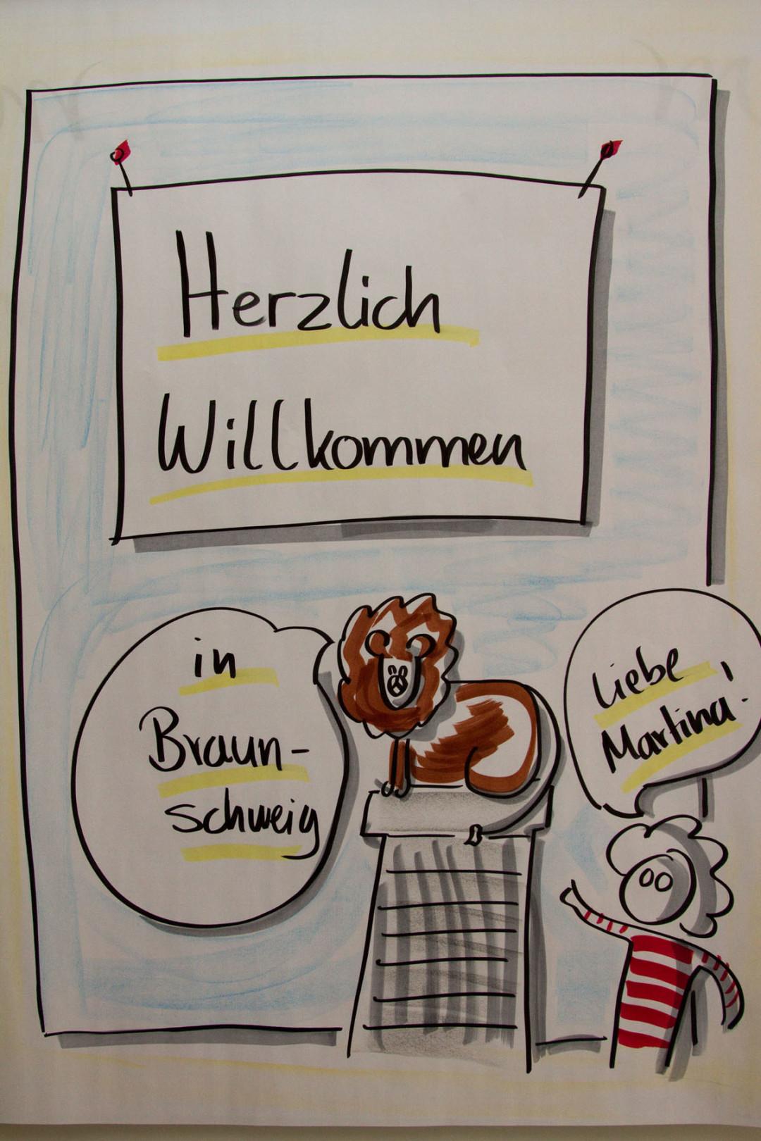 Sandra Dirks - Begrüßungsflipchart mit dem Braunschweiger Löwen