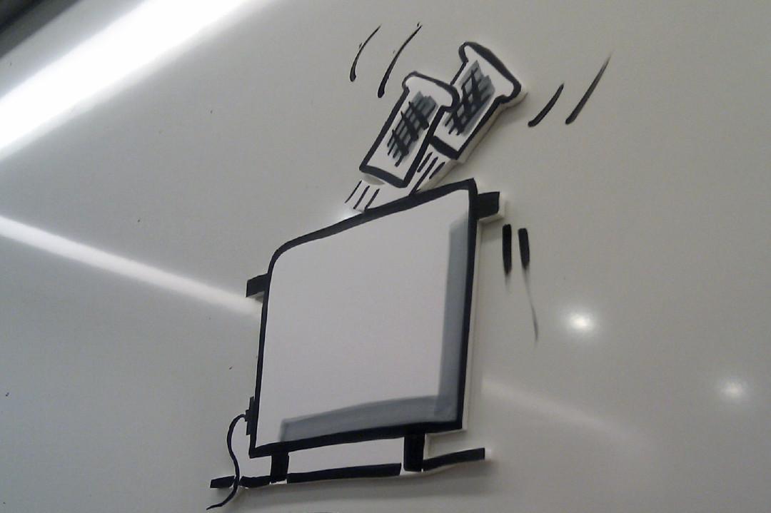 Sandra Dirks - Toaster aus Foamboard geschnitten und am Whiteboard eingesetzt