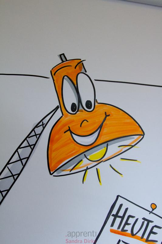 Sandra Dirks - eine Schreibtischlampe auf ein Flipchart zeichnen