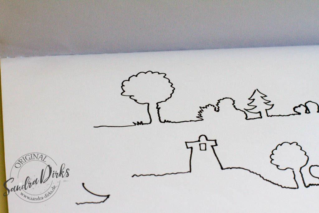 Landschaft aus einer Linie zeichnen