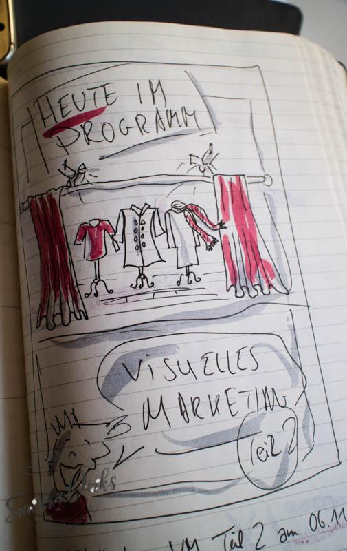 Sandra Dirks - Beispiel für ein Themenflipchart im Skizzenbuch