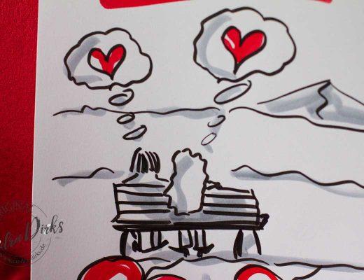 Sandra Dirks - Mini - Flipchartkurs verliebtes Paar auf der Bank