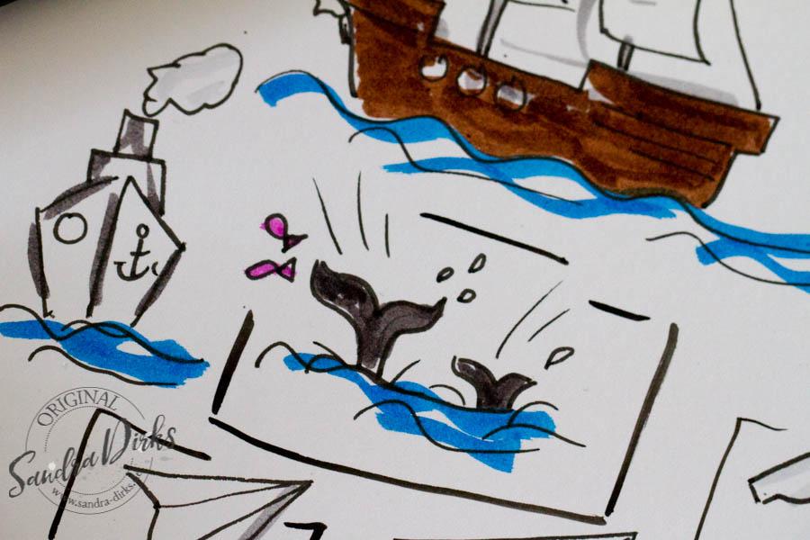 Sandra Dirks - Zeichenbeispiele aus dem Buch tauchende Wale