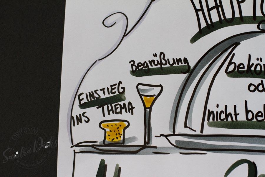 Sandra Dirks - FlipchartFriday Themenmenue Detail mit Toast und Wein