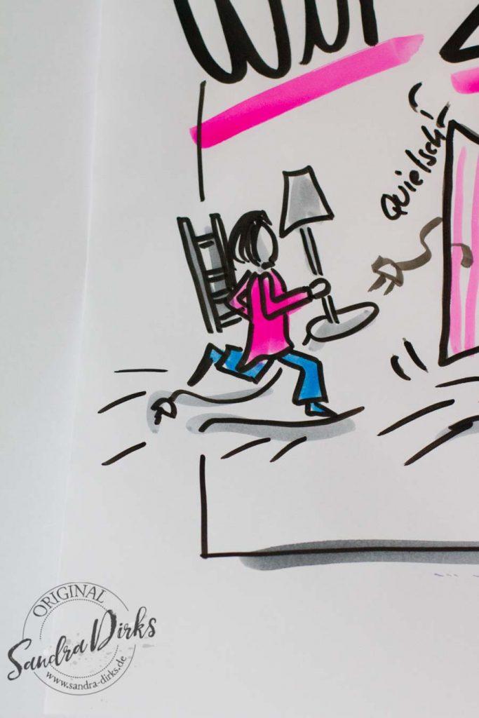 Sandra Dirks - Mini-Flipchartkurs Umzugswagen Detail Figur mit Lampenschirm