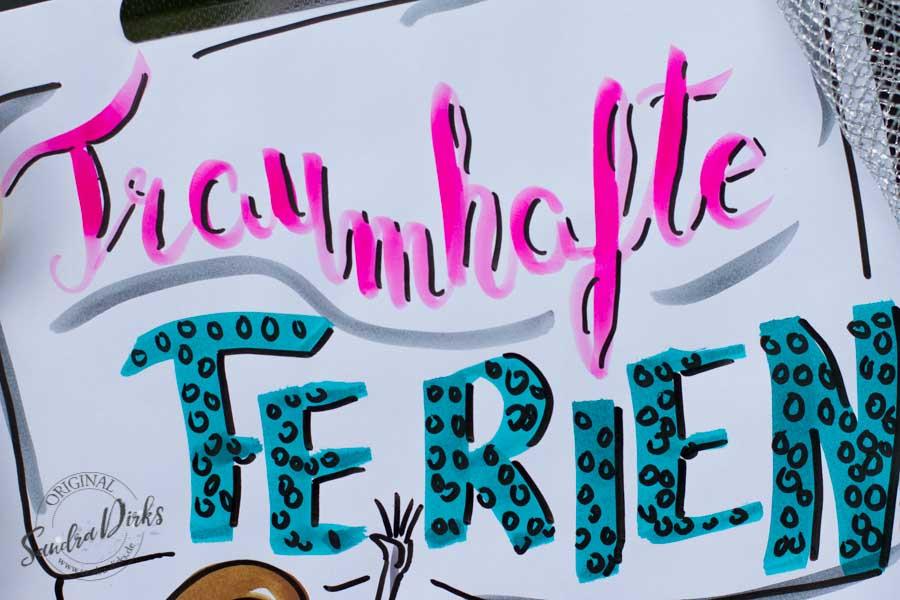Mini - Flipchartkurs mit Sandra Dirks - Thema: Die Meerjungfrau Schriftdetail
