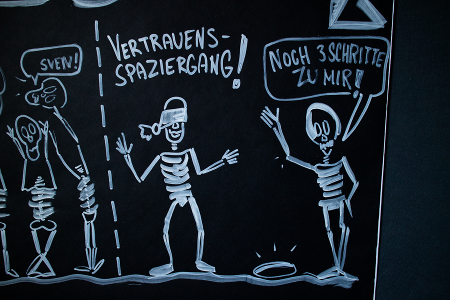 Sandra Dirks - lustige Skelette auf schwarzem Flipchart