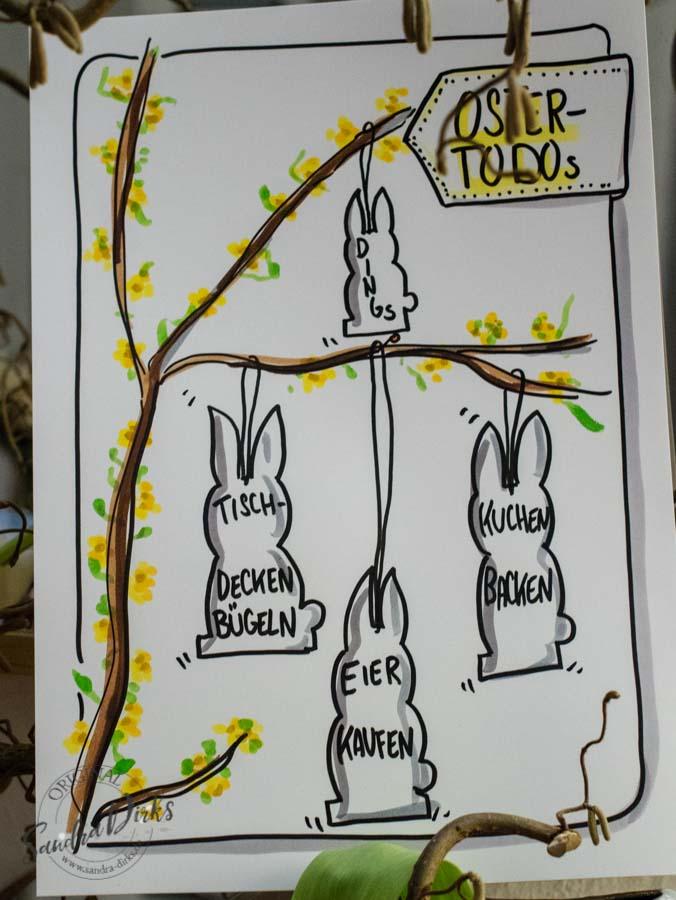 Sandra Dirks - Mini - Flipchartkurs - Zeichne Osterhasen - ToDos auf dein Flipchart