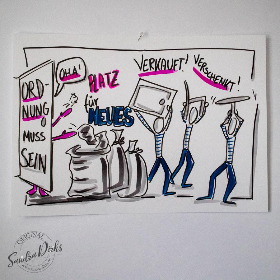 Sandra Dirks - Mini - Flipchartkurs - So zeichnest du Aufräumen auf dein Flipchart