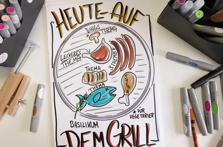 Sandra Dirks - Mini - Flipchartkurs - So zeichnest du ein Grillrost auf dein Flipchart