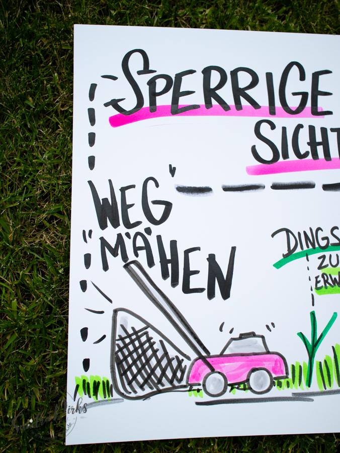 Sandra Dirks - Mini - Flipchartkurs - So zeichnest du einen Rasenmäher auf dein Flipchart