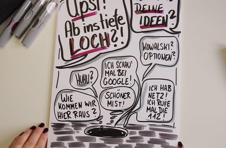 Sandra Dirks - Mini - Flipchartkurs - So zeichnest du ein Motivationsloch auf dein Flipchart