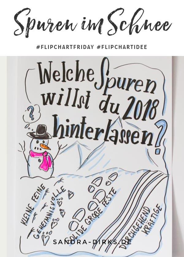 Sandra Dirks - FlipchartFriday - Mini- Flipchartkurs Spuren im Schnee