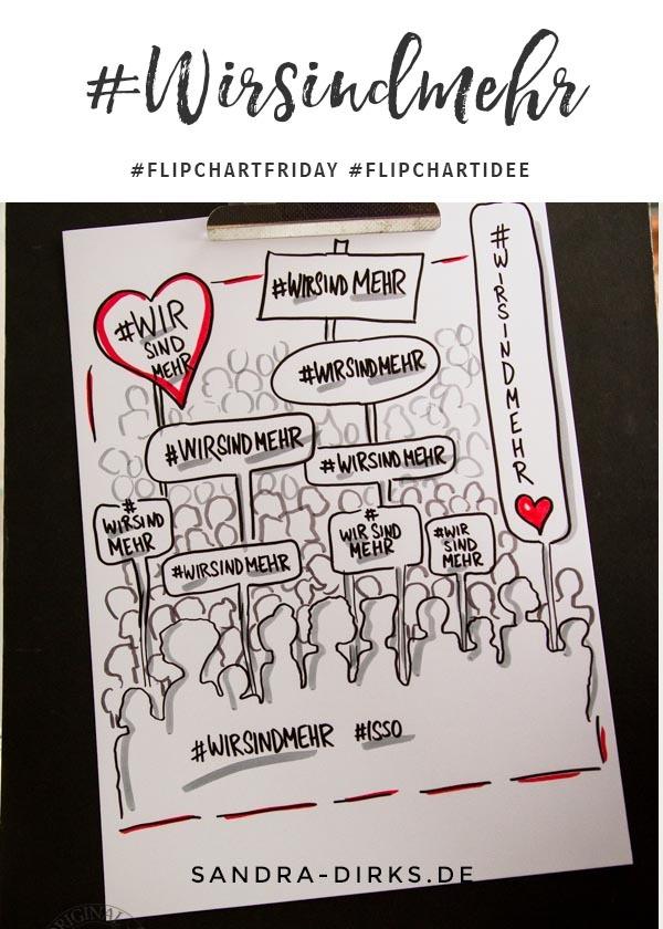 Sandra Dirks - FlipchartFriday - Mini- Flipchartkurs Demonstranten Wir-sind-mehr