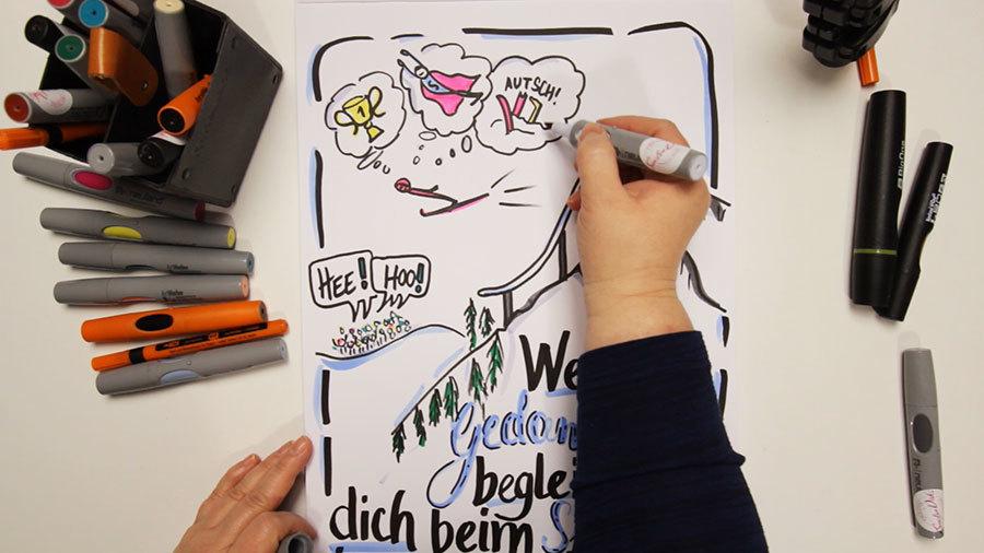 Sandra Dirks - Mini - Flipchartkurs - So zeichnest du einen Skispringer auf dein Flipchart