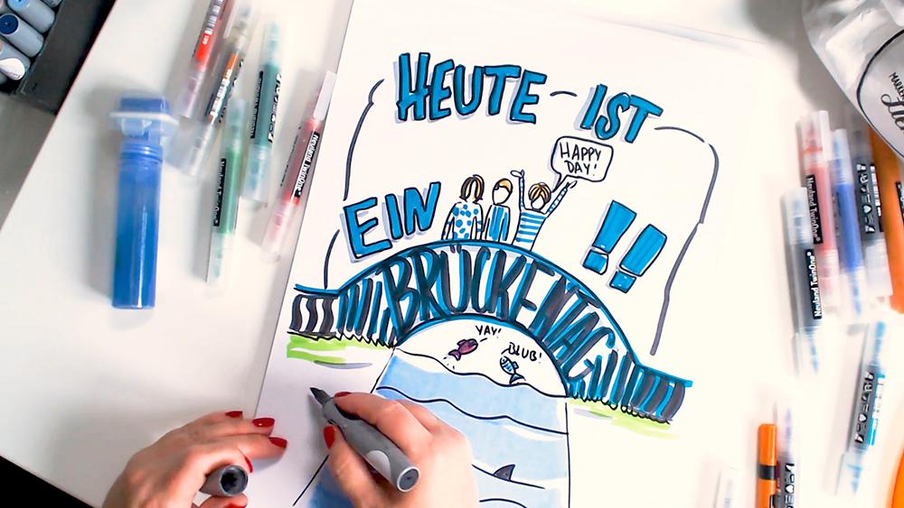 Sandra Dirks - Mini - Flipchartkurs - So zeichnest du einen Brückentag auf dein Flipchart