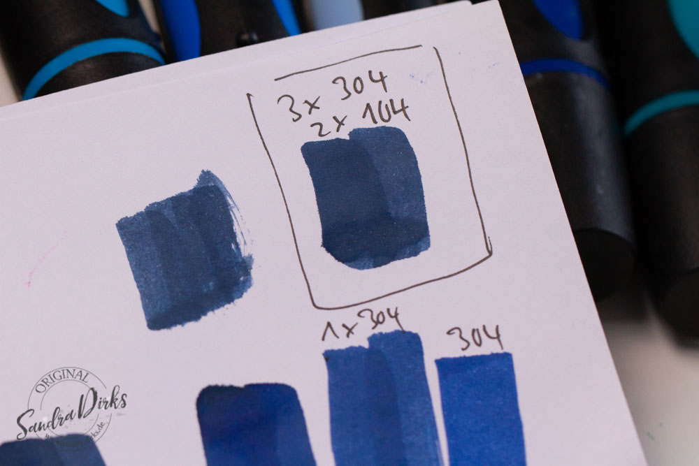 Sandra Dirks - Blautöne mixen mit wasserlöslicher Tinte zum Nachfüllen der Marker - Farbproben