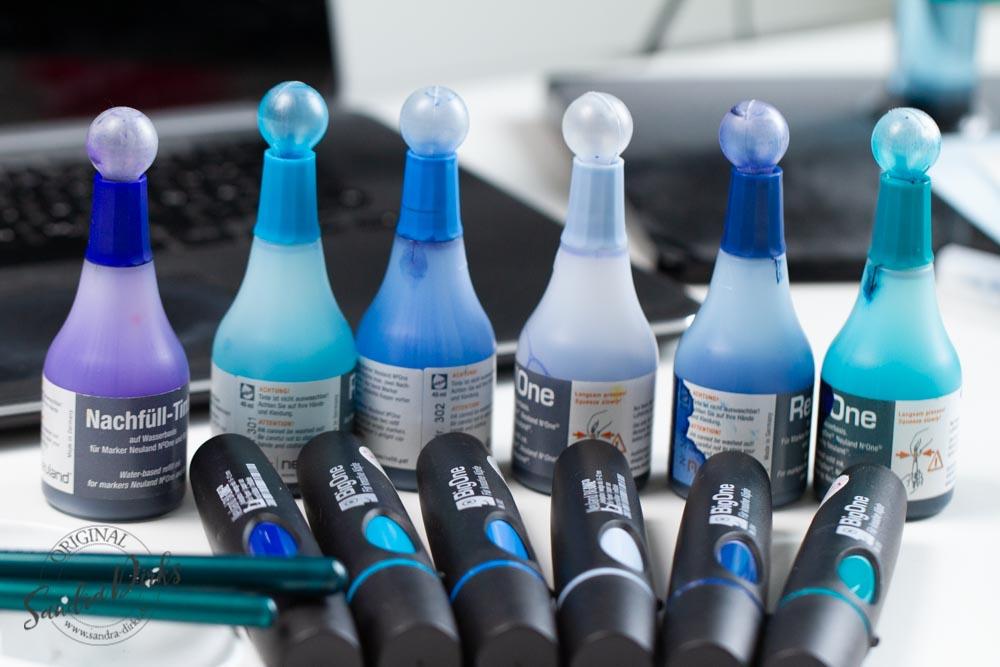 Sandra Dirks - Blautöne mixen mit wasserlöslicher Tinte zum Nachfüllen der Marker - Marker mit Neulandfarben & Nachfülltinte