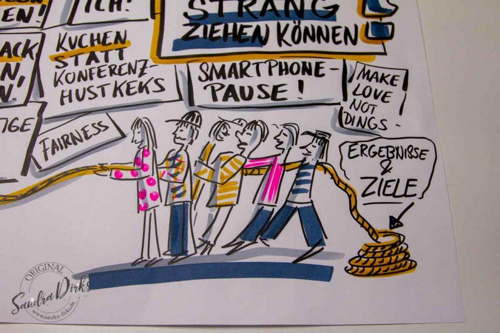 Sandra Dirks - Mini - Flipchartkurs - So zeichnest du Menschen, die an einem Strang ziehen - Detail Menschen