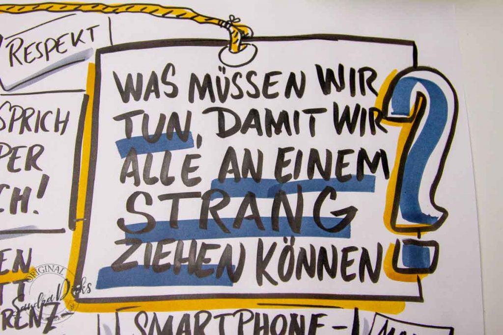 Sandra Dirks - Mini - Flipchartkurs - So zeichnest du Menschen, die an einem Strang ziehen -detail Überschrift