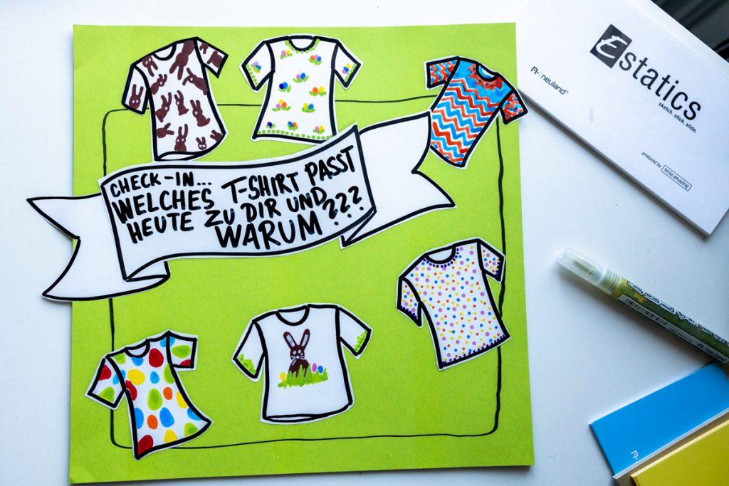 Sandra Dirks - estatics in T-Shirt-Form als visuelle Teilnehmerliste nutzen als Instacard mit Thema
