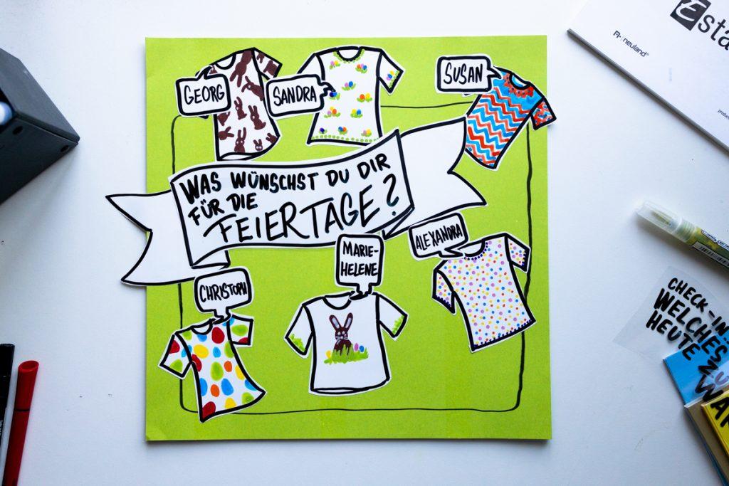 Sandra Dirks - estatics in T-Shirt-Form als visuelle Teilnehmerliste nutzen als Instacard mit Thema 2